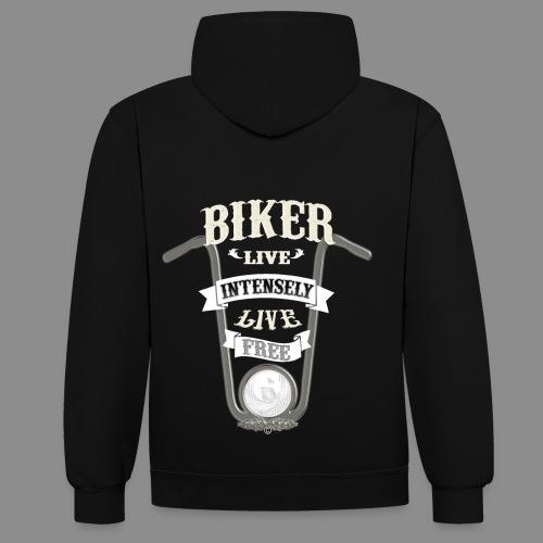 Biker live Free - Sudadera con capucha en contraste