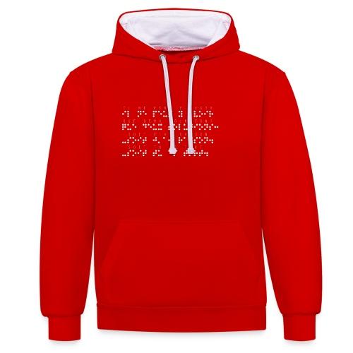 Sweat-shirt contraste - Modèle : il ne peut y avoir que deux solutions soit j'ai raison soit tu as tort Ecriture blanche pour vêtements ou accessoires foncés  Pour rappel : C'est un braille imprimé (sans le relief) Demandez votre phrase/citation par mail à : asso.sensi@gmail.com  !!