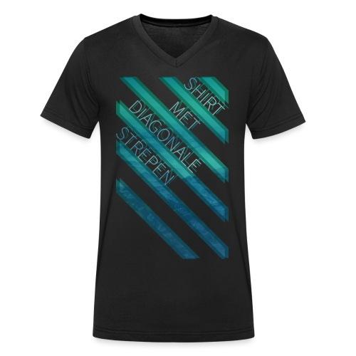 Diagonale strepen mannen v-hals bio - Mannen bio T-shirt met V-hals van Stanley & Stella