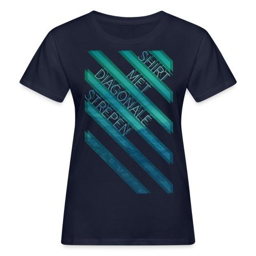 Diagonale strepen vrouwen bio - Vrouwen Bio-T-shirt