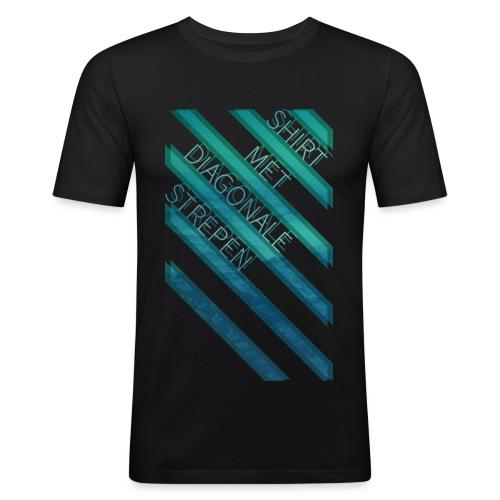 Diagonale strepen mannen slimfit - slim fit T-shirt
