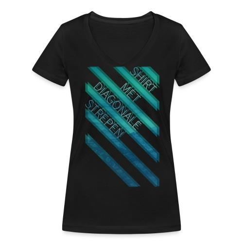Diagonale strepen vrouwen v-hals bio - Vrouwen bio T-shirt met V-hals van Stanley & Stella