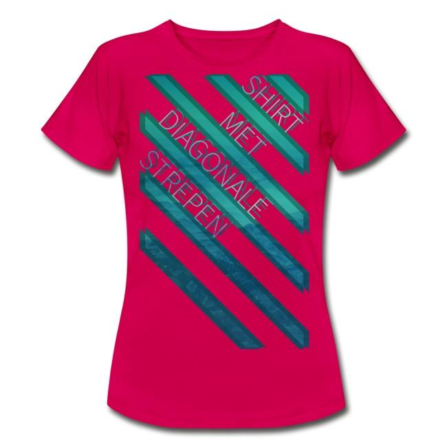 Diagonale strepen vrouwen t-shirt