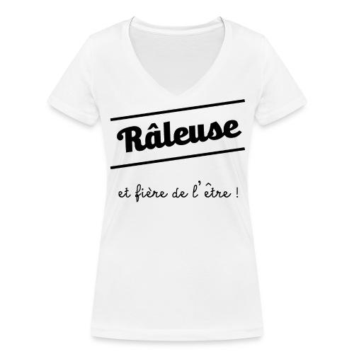 Tshirt blanc femme manches courtes Râleuse et fière de l'être - T-shirt bio col V Stanley & Stella Femme