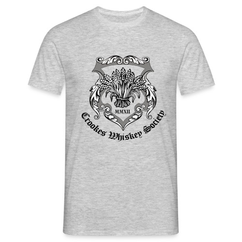 Crookes Whiskey Society t-shirt (grey, large crest) - Men's T-Shirt