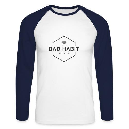 Bad Habit Apparel Men's Baseball Tee - Men's Long Sleeve Baseball T-Shirt