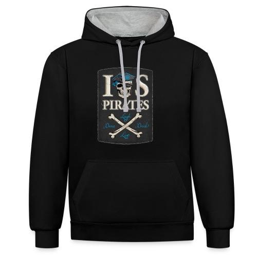 IOS Pirates, Hoodie, Pullover, Men - Kontrast-Hoodie