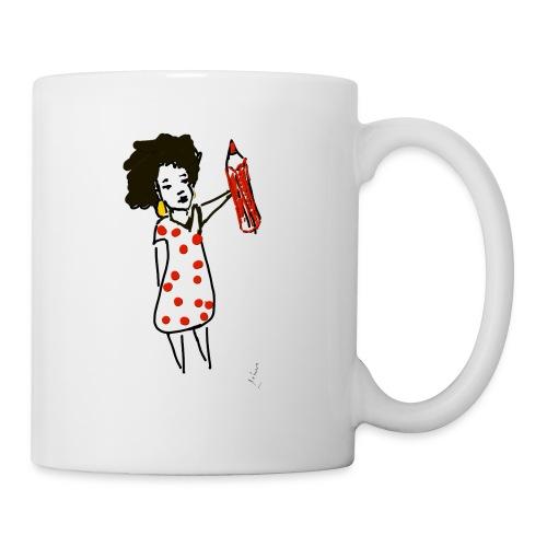 femme à pois Bouteilles et Tasses - Mug blanc
