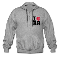 Men's Premium Hooded Jacket with design I Love Basketball