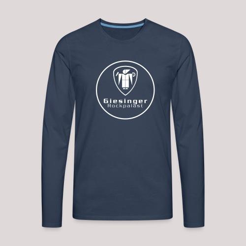 Langarmshirt NAVY  –  vorne Kreislogo (komplett), hinten Schriftzug [weiß Flex auf navyblau] - Männer Premium Langarmshirt