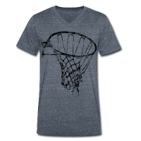 Männer T-Shirt mit V-Ausschnitt mit Motiv Basketball Korb Netz (used look)