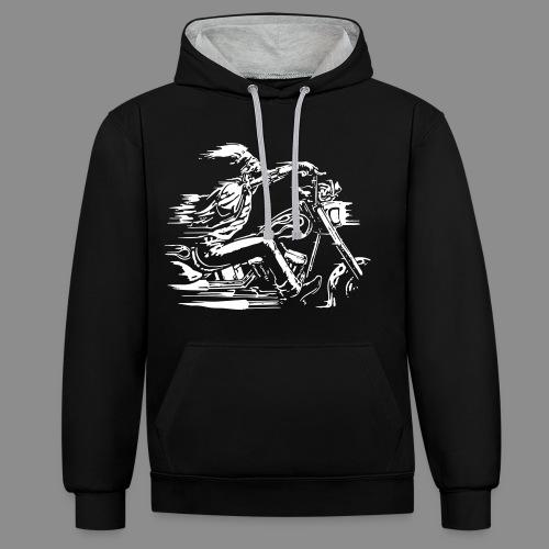 Motorcycle Skull - Sudadera con capucha en contraste