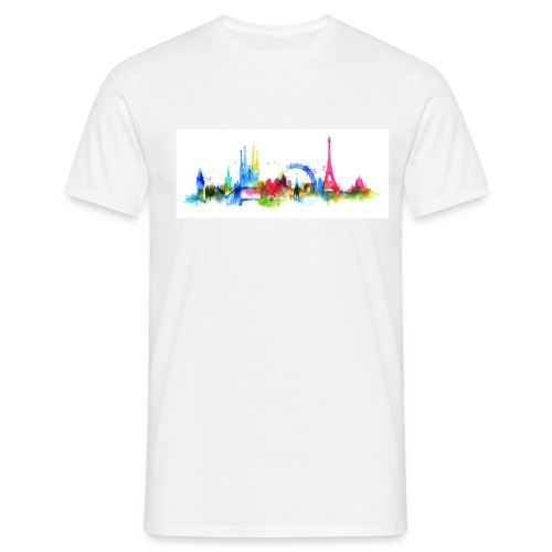Skyline mixed farbig aquarell - Männer T-Shirt