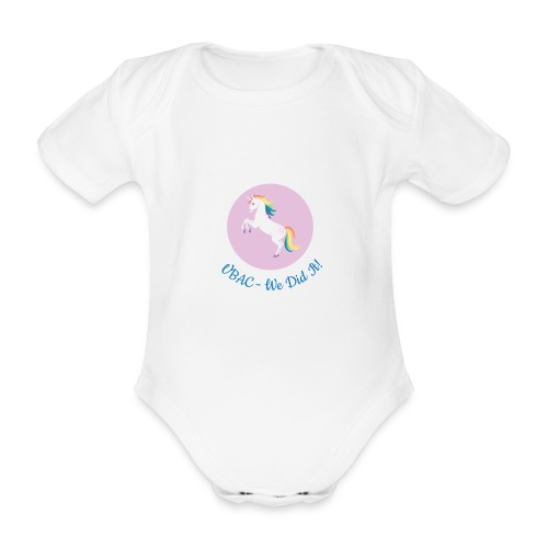 Blue VBAC unicorn vest - Organic Short-sleeved Baby Bodysuit