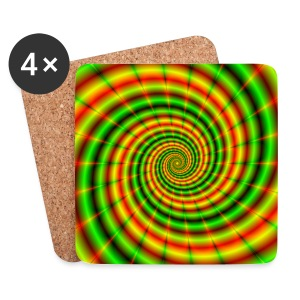 Double Spiral in Green and Orange - Coasters (set of 4)