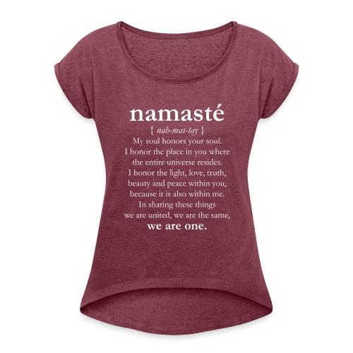 namaste_3_bianco - Maglietta da donna con risvolti