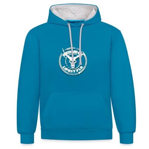 Redneck Lifestyle - Hoodie Blau Grau - Kontrast-Hoodie