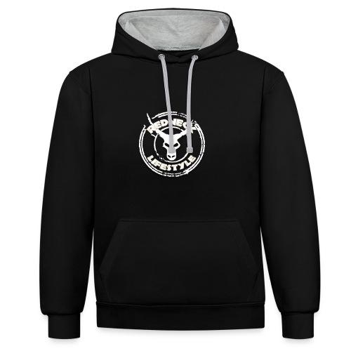 Redneck Lifestyle - Hoodie Schwarz Grau - Kontrast-Hoodie