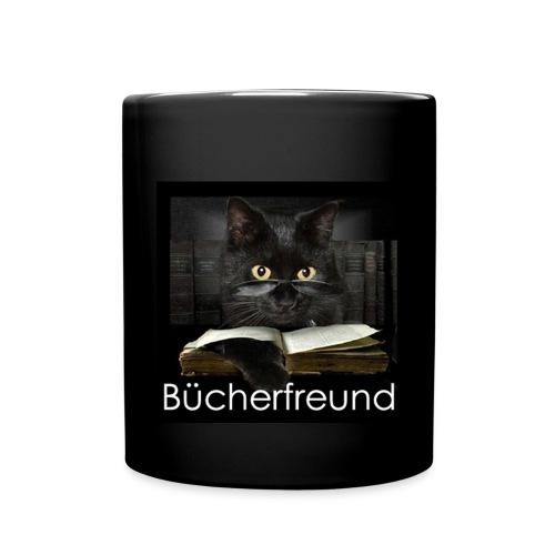 Tasse Bücherfreund Katze - Tasse einfarbig