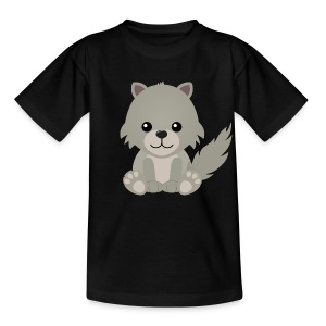 Kawaii Cute Wolf Cub Cartoon - Kids' T-Shirt