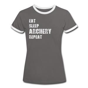 Frauen Kontrast-T-Shirt - EAT SLEEP ARCHERY REPEAT - Frauen Kontrast-T-Shirt