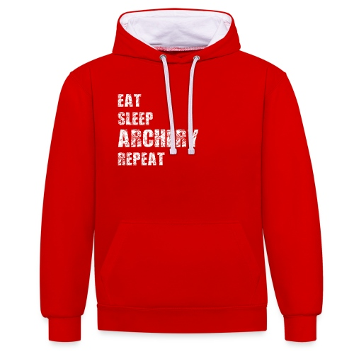 Kontrast-Kapuzenpullover - EAT SLEEP ARCHERY REPEAT - Kontrast-Hoodie