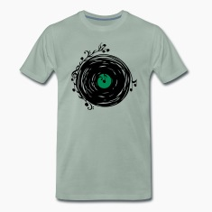 Vinyl record, music notes, bass, clef, key, party T-Shirts