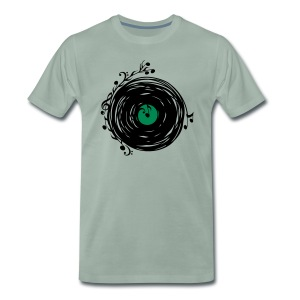 Vinyl record, music notes, bass, clef, key, party  - Men's Premium T-Shirt
