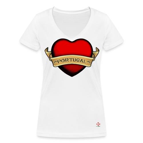 Tee Shirt Gros Cœur Femme - T-shirt bio col V Stanley & Stella Femme