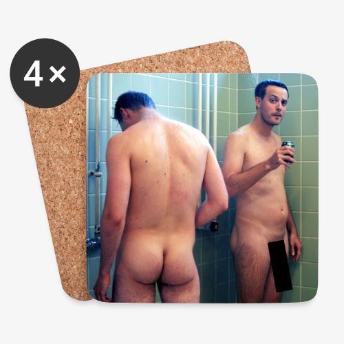Coasters - 2 nøgne mænd  - Glasbrikker (sæt med 4 stk.)