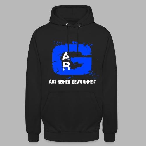 A.R.G. Kapuzenpullover in Schwarz mit Blauem Logo - Unisex Hoodie