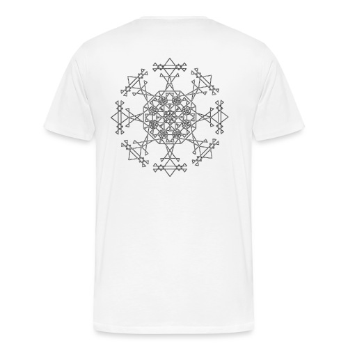 Mandala White Shirt With Back Print - Men's Premium T-Shirt