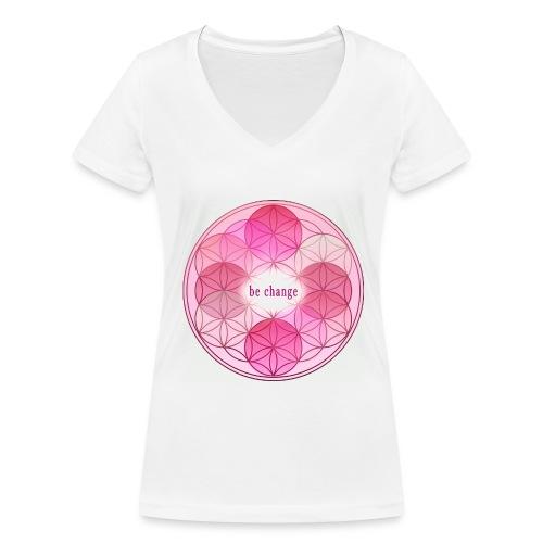 Damen T.Shirt Blumes des Lebens pink - Frauen Bio-T-Shirt mit V-Ausschnitt von Stanley & Stella