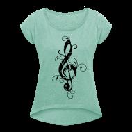 T-Shirts ~ Frauen T-Shirt mit gerollten Ärmeln ~ Artikelnummer 105909797