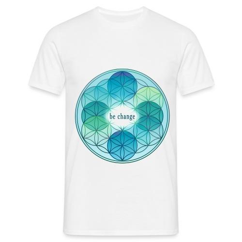 Herren T-Shirt Blume des Lebens blau - Männer T-Shirt