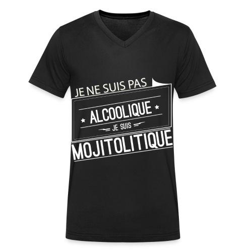 Tee Shirt Homme Noir Col V - je ne suis pas alcoolique - T-shirt bio col V Stanley & Stella Homme