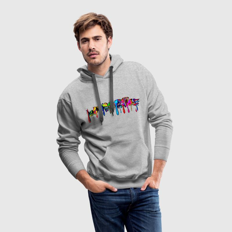 Color, rainbow, graffiti, splash, paint, comic Sweat-shirts - Sweat-shirt à capuche Premium pour hommes