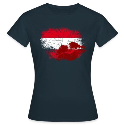 Österreich Fahne mit Kussmund/Lippen | Fanshirts bedrucken - Frauen T-Shirt