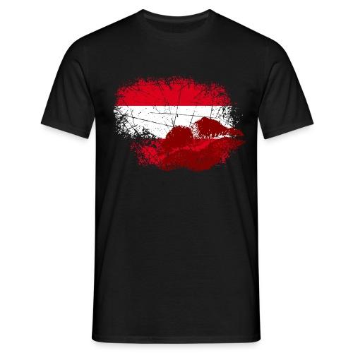 Österreich Fahne mit Kussmund/Lippen | Fanshirts bedrucken - Männer T-Shirt