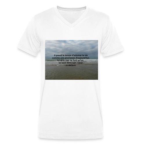 Tee-shirt col v blanc - T-shirt bio col V Stanley & Stella Homme