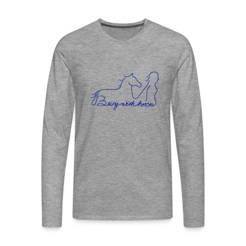 Being with Horses, Men Longsleeve ( Print: Blue) - Männer Premium Langarmshirt