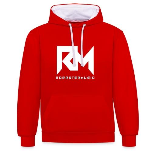 RobbsterMusic / White Logo 2 - Kontrast-Hoodie