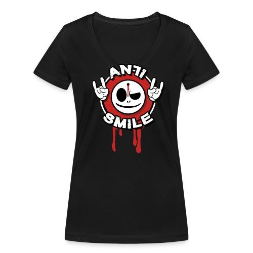 AntiSmile - AntiSmile - Girlyshirt V Ausschnitt - Frauen Bio-T-Shirt mit V-Ausschnitt von Stanley & Stella
