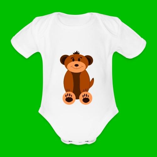 Baby Kurzarm-Body mit Teddybär - Baby Bio-Kurzarm-Body
