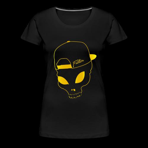 Fiction skull logo tshirt design (Gold Logo) Womens - Women's Premium T-Shirt