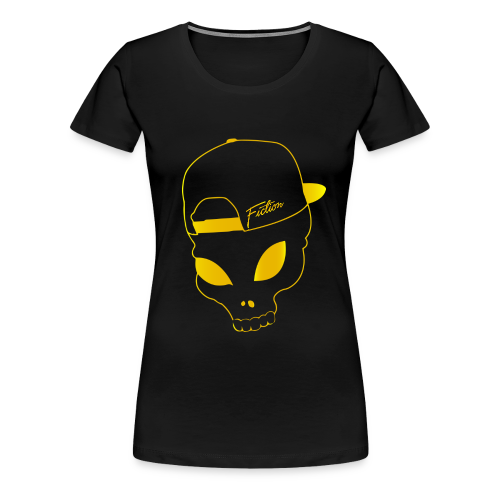 Fiction skull logo tshirt design (Gold Logo) Womens - Women's Premium T-Shirt