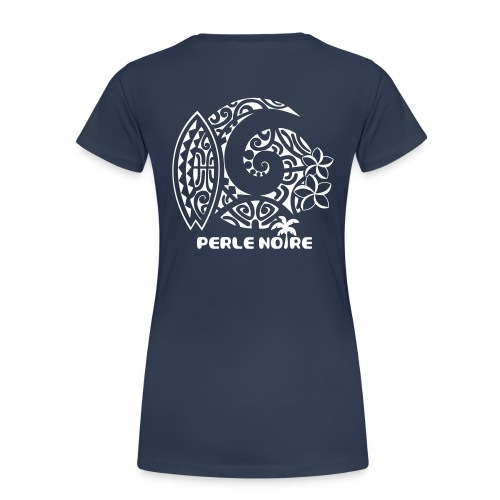 T-Shirt Femme bleu marine- Perle Noire - T-shirt Premium Femme