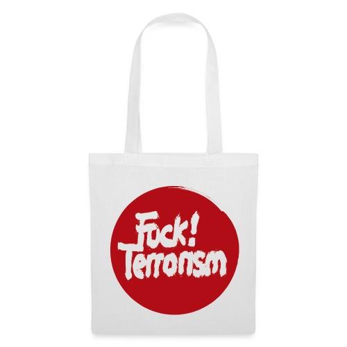 FUCK TERRORISM RED - CANVAS TOTE BAG WHITE - Stoffbeutel