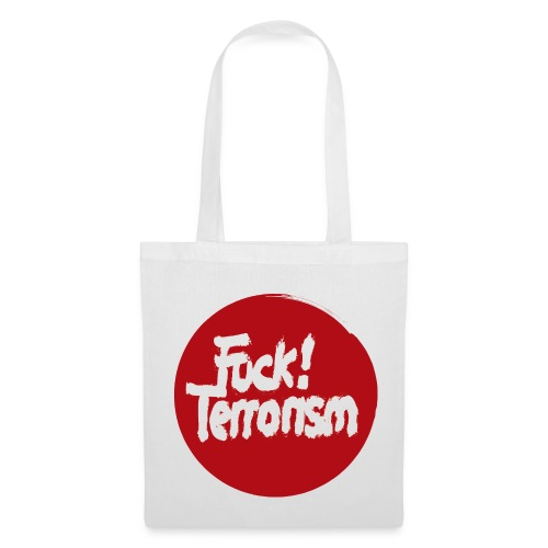 FUCK TERRORISM RED - CANVAS TOTE BAG WHITE - Stoffbeutel
