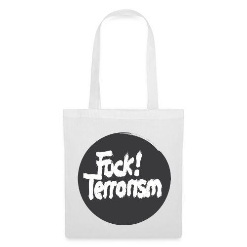 FUCK TERRORISM BLACK - CANVAS TOTE BAG WHITE - Stoffbeutel